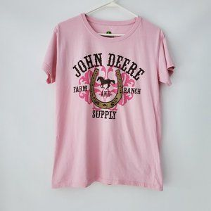 Girls John Deere Pink  graphic T Shirt XL